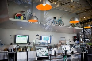 Bangunan besar bagi 1.300 sepeda Google yang berwarna sesuai dengan logo Google.