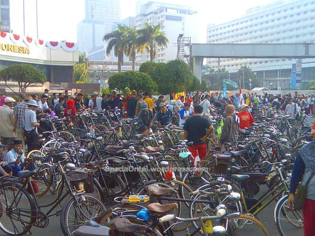 Suasana saat Car Free Day di Jakarta, 10 Agustus 2014.
